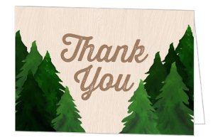Rustic Watercolor Pine Tree Thank You Card