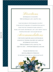 Beautiful Blue Floral Decor Wedding Enclosure Card