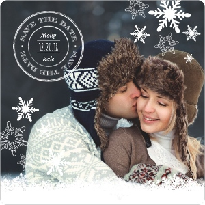 Rustic Mongram Snowflakes Save The Date Magnet