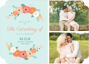 Coral Country Flowers Save The Date Magnet