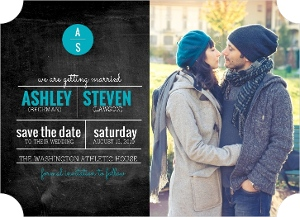 Chalkboard Modern Initial Save The Date Magnet
