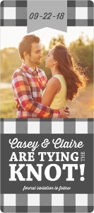 Gray Plaid Long Save The Date Magnet