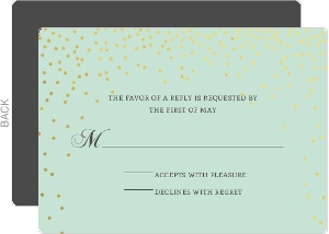 Mint and Gold Foil Confetti Wedding Response Card