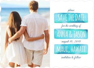 Aqua Watercolor Save The Date Magnet