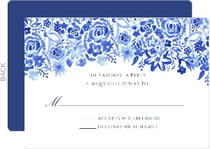 Handpainted Blue Floral Watercolor Wedding Response Card