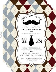 Gentlemen Mustache Bachelor Party Invitation