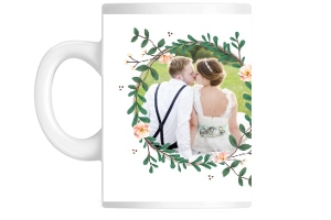 Floral Wreath Photo Frame Custom Mug