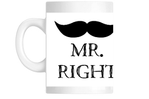 Black Mustache Mr. Right Custom Mug