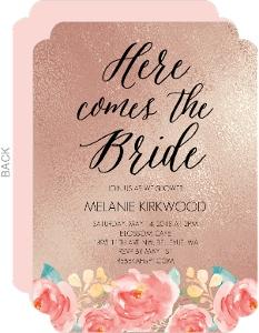Floral Rose Gold Bridal Shower Invitation
