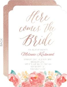 Rose Gold Floral Bridal Shower Invitation