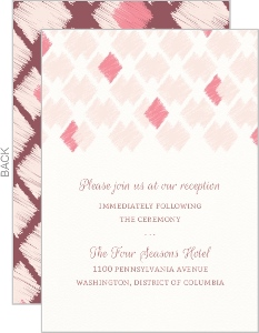 Blush Ikat Pattern Wedding Reception Card