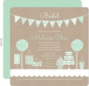 Mint & Kraft Candy Bridal Shower Invitation