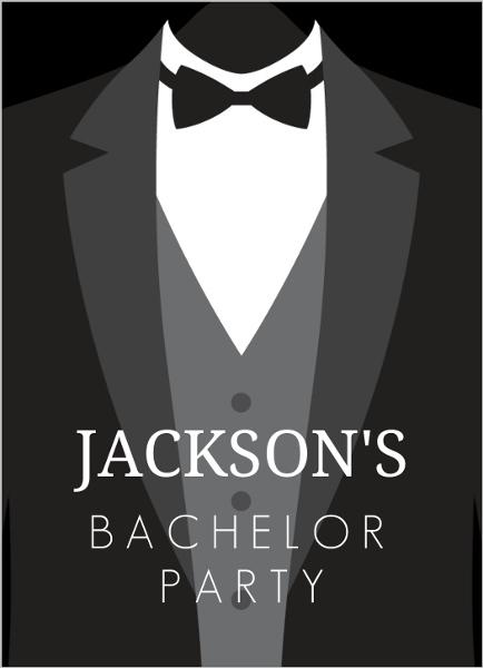 Classic Tuxedo Bachelor Party Invitation – Classic Party Invitations