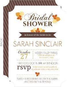 Modern Autumn Leaves Bridal Shower Invite