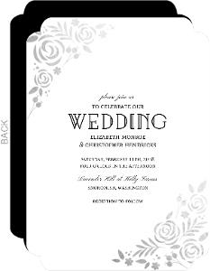 Floral Silver Foil Wedding Invitation