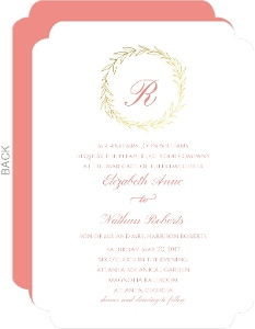 Pink Gold Foil Wreath Wedding Invitation