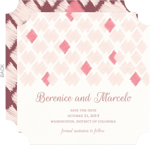 Blush Ikat Pattern Save the Date Card