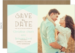 Rustic Woodgrain & Mint Save The Date Card
