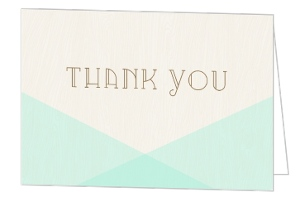 Rustic Woodgrain & Mint Thank You Card