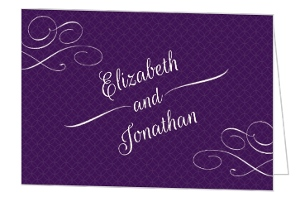 Elegant Purple Flourish Pattern Wedding Thank You Card