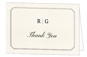 Traditional Double Frame Wedding Thank You Card