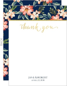 Navy Romantic Floral Wedding Thank You Card