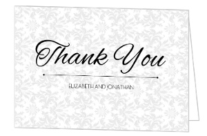 Damask Pattern Wedding Thank You Card