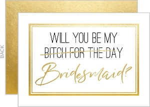 Simple Gold Will You Be My Bridesmaid Card