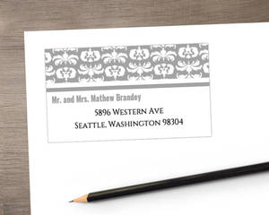 Gray and White Striped Address Label