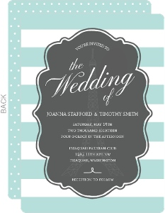 Teal and White Wedding Invitation