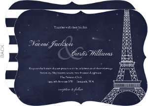 Whimsical Paris Navy Wedding Invitation