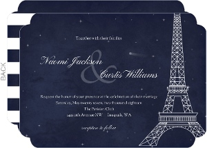 Whimsical Paris Navy Wedding Invitation