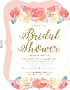Pink Elegant Watercolor Flower Bridal Shower Invitation