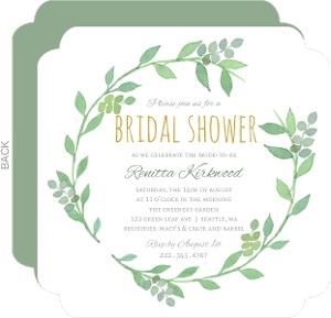 Green Watercolor Wreath Bridal Shower Invitation