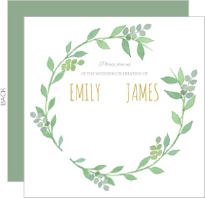 Green Watercolor Wreath Wedding Invitation