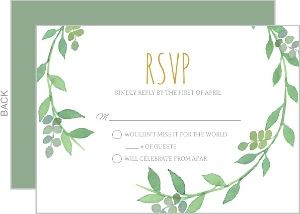 Green Watercolor Wreath Wedding Response Card