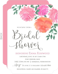 Pink Watercolor Flowers Bridal Shower Invitation