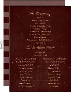 Whimsical Paris Burgundy Wedding Program