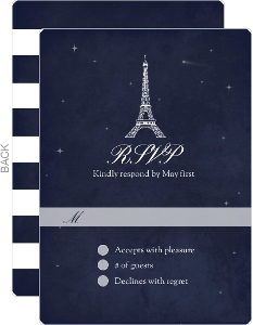 Whimsical Paris Navy Wedding Response Card