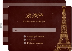 Whimsical Paris Burgundy Wedding Response Card