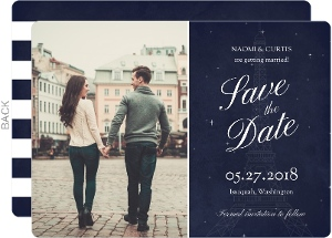 Whimsical Paris Navy Wedding Save The Date