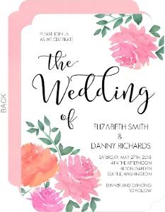 Pink Watercolor Flowers Wedding Invitation
