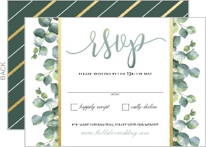 Greenery Watercolor Leaves Wedding Response Card