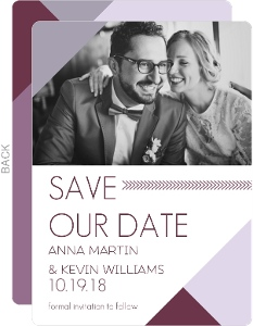 Modern Geometric Lavender Save the Date Card