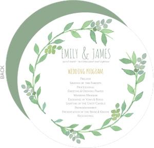 Green Watercolor Wreath Wedding Program