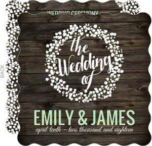Rustic Wood Baby's Breath Wedding Program