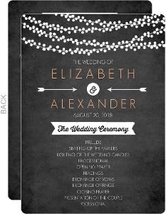 String Lights and Chalk Wedding Program