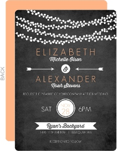 String Lights and Chalk Wedding Invitation