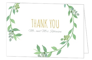 Green Watercolor Wreath Thank You Card