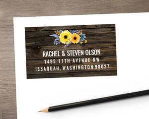 Yellow Watercolor Floral Woodgrain Address Label